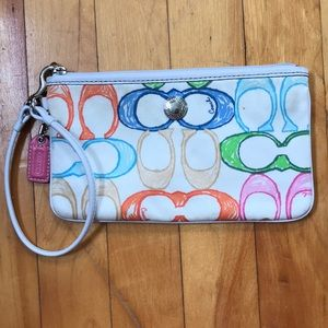 Multicolor Coach Signature Wristlet